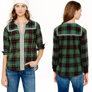 J Crew Embroidered Peasant Top in Green Plaid